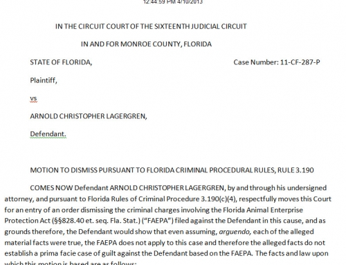 Motion to Dismiss Filed March 1, 2013